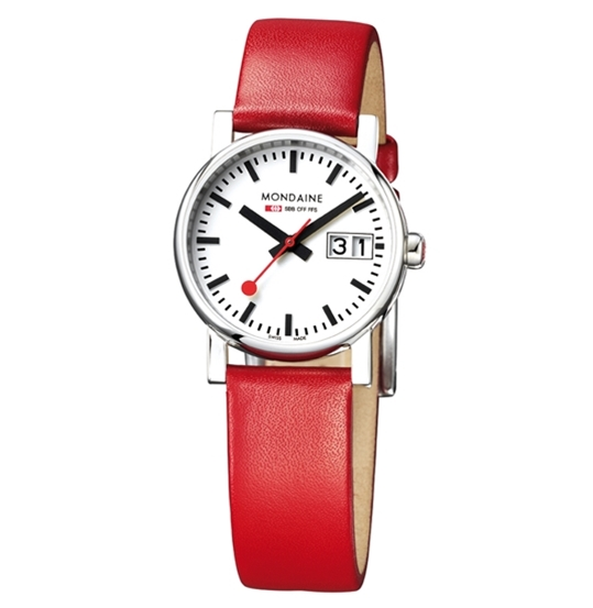 Evo Quartz Big Date Ladies Red Strap